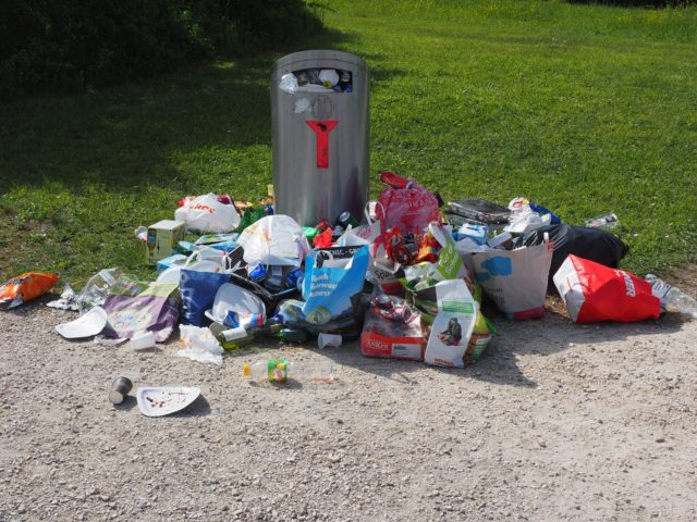 overflowing rubbish can